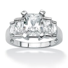 Platinum/Silver Princess-Cut Baguette Cubic Zirconia Step Ring