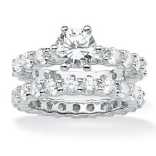 Platinum Plated Round Cubic Zirconia Eternity Wedding Ring Set