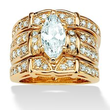 14k Gold Plated Marquise and Round Cubic Zirconia Wedding Ring Set