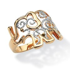 Filigree Brass Elephant Ring
