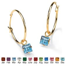 Birthstone Charm Hoop Earrings