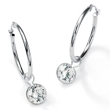 Round Cubic Zirconia Hoop Earrings