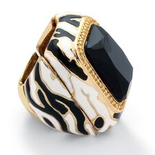 Goldtone Emerald Cut Crystal Zebra Statement Ring