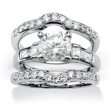Oval Cut Cubic Zirconia Bridal Ring Set