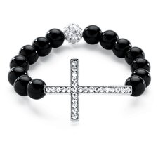 Onyx Cross Birthstone Beaded Bracelet