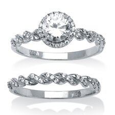 Platinum Over Silver Round Cut Cubic Zirconia Ring 2 Piece Set