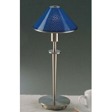 Holtkotter Satin Nickel Table Lamp with Pearl Blue Glass