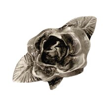 Fruits of Nature Single Rose Knob in Distressed Satin Pewter