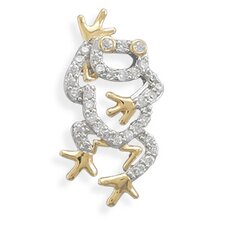Rhodium and 14 Karat Gold Plated CZ Frog Slide Charm