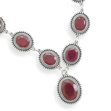 Sterling Silver 17 InchOxidized Oval Faceted Rough-cut Ruby With Bead Design Necklace