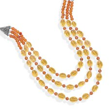 Sterling Silver 18 InchMultistrand Carnelian And Citrine Necklace
