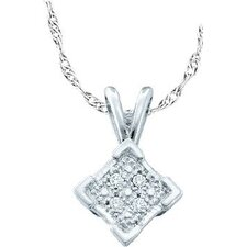 Sterling Silver 0.01 Dwt Diamond Micro Pave Set Pendant