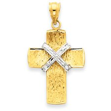 14K Two-tone Diamond-Cut Cross Pendant- Measures 31x16mm