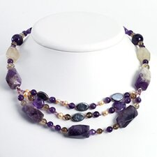 Silver Amethyst Cult. Pearl Smokey Quartz Necklace - 16 Inch- Lobster Claw