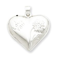Sterling Silver Polished Floral Puffed Heart Pendant
