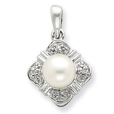 Sterling Silver Rhodium FW Cultured Pearl and Diamond Pendant