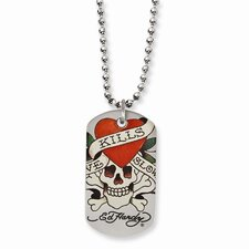 Stainless Steel Ed Hardy Painted Skull Heart Dog Tag 24inch Necklace