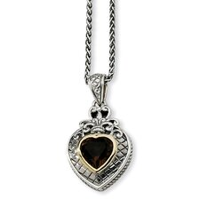 Sterling Silver With 14k 2.60Smokey Quartz 18inch Necklace