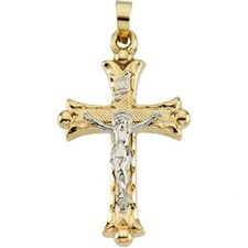 14k Two-Tone Crucifix Pendant25x18mm