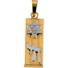 14k Two-Tone Mezuzah Pendant21x7mm