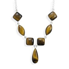 16 Inch15mmx15mmSoft Square 24mmx12mmMarquise 30mmx12.5mmPear Shape Tigers Eye Stone Necklace