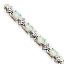 Sterling Silver Opal and Diamond Bracelet - Box Clasp