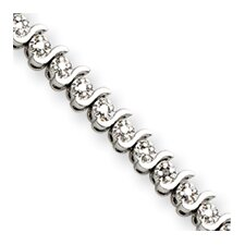 Sterling Silver Diamond S Bracelet - Box Clasp