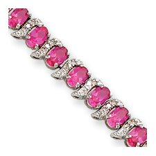 Sterling Silver Box Clasp Created PinK Sapphire and Diamond Bracelet