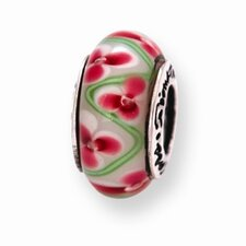 Sterling Silver Reflections PinK Green Bead Charm