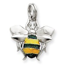 Sterling Silver Green and Yellow Enamel Bee Charm