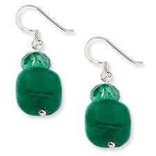 Sterling Silver Green Crystal and Green Jade Earrings