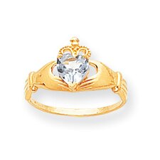 14k White Gold CZ Birthstone Claddagh Heart Ring