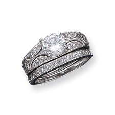 2-Piece Sterling Silver Cubic Zirconia Wedding Ring Set