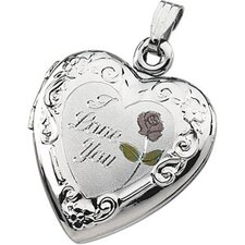 St. Silver Tri Color I Love You Heart Shaped Locket