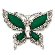 Swarovski Element Crystal Simulated Jade Butterfly Pin