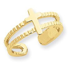 14k Yellow Gold Diamond Cut Cross Toe Ring