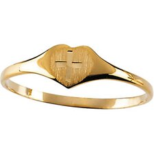 14k Yellow Gold Heart With Cross Childrens Ring