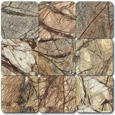 "4"" x 4"" Tumbled Marble Tile in Café Forest"