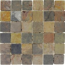 "12"" x 12"" Tumbled Slate Mosaic in Multi Classic"