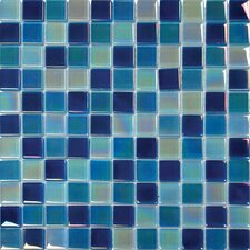 "12"" x 12"" Crystallized Glass Mosaic in Iridiscent Blue Blend"