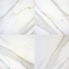 "Pietra Calacatta 12"" x 12"" Porcelain Polished Floor and Wall Tile in High Gloss"