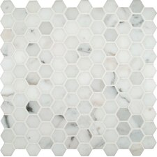 "Calacatta Gold Hexagon 12"" x 12"" Polished Marble Mesh Mounted Mosaic Tile in White"