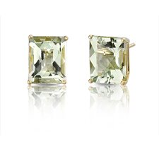 14 Karat Yellow Gold 5.75 carats Radiant Checkerboard Cut Gemstone Diamond Earrings