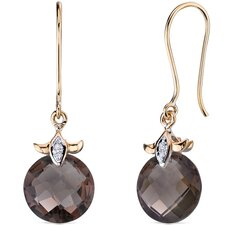 10 Karat Two Tone Gold 7.00 carat Checkerboard Cut Smoky Quartz Diamond Earrings (0.02 carat Stone)