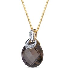 "0.5"" 10 Karat Two Tone Gold 3.50 Carats Checkerboard Cut Smoky Quartz Diamond Pendant"