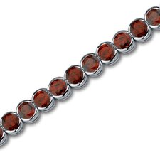 Must Have Chic 19.75 Carats Round Cut Garnet Gemstone Tennis Bracelet in Sterling Silver