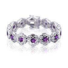 Melody of Gemstones Round Cut Cubic Zirconia Flower Link Bracelet in Sterling Silver