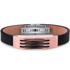 Mens Stainless Steel and Leather Bracelet with Rose Gold and Black Triple Stripe Accents