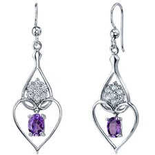 Illuminating Hearts 1.50 Carats Gemstone Oval Cut Dangle Cubic Zirconia Earrings in Sterling Silver