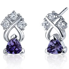 Regal Elegance 1.00 Carats Alexandrite Trillion Cut Cubic Zirconia Earrings in Sterling Silver
